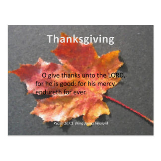 His Mercy Endureth Thanksgiving Psalm 107:1 Postcard