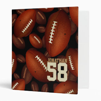 his name and jersey number on footballs pattern 3 ring binders