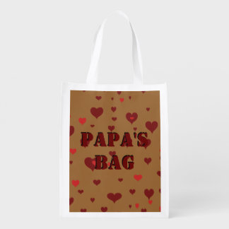 His Name Stenciled  - Brown Background with Hearts Grocery Bags