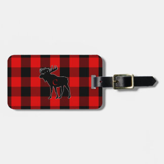 His Personalized Rustic Moose Red Buffalo Plaid Luggage Tag