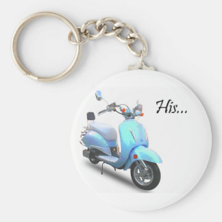 His Scooter Basic Round Button Keychain