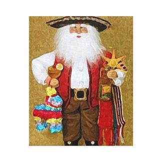Hispanic Mexican Southwestern Texan Santa Claus Gallery Wrap Canvas