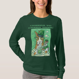 Hiss N Fitz Cat GREEN BEER LONG SLEEVE T SHIRT