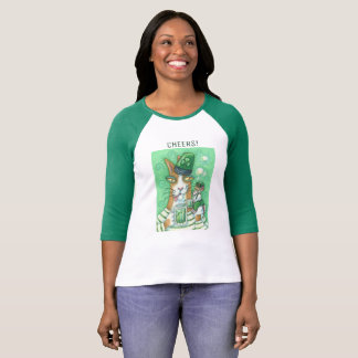 "Hiss N Fitz Cat ST. PADDY""S DAY 3/4 SLEEVE T SHIRT"