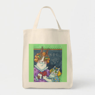 Hiss N' Fitz Cats TEACHER'S PET GROCERY TOTE