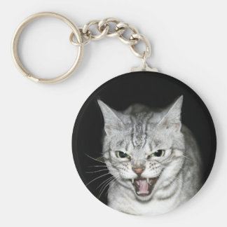 Hissing cat basic round button keychain