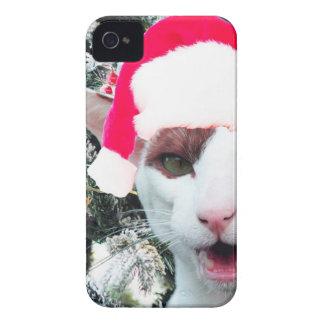 Hissing Cat in a Santa Hat Case-Mate iPhone 4 Cases