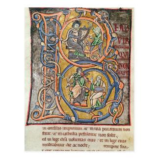 Historiated initial 'B' depicting King David Postcard