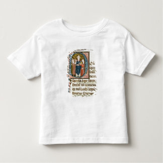 Historiated initial 'D' depicting a priest Tees