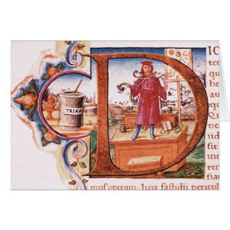 Historiated initial 'D' depicting an apothecary Card