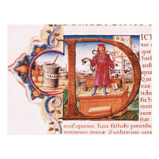 Historiated initial 'D' depicting an apothecary Postcard