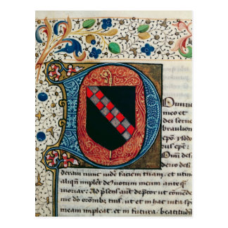 Historiated initial 'D' depicting coat of arms Postcard
