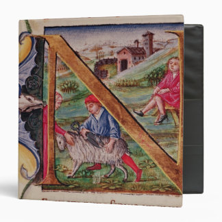 Historiated initial 'N' depicting sheep Vinyl Binder
