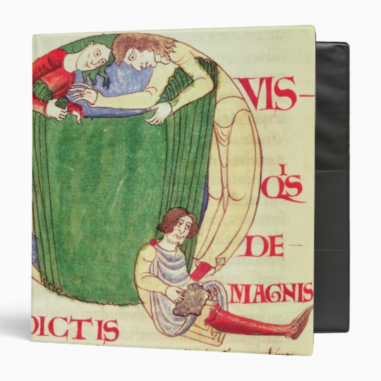 Historiated initial 'Q' depicting drapers Binder
