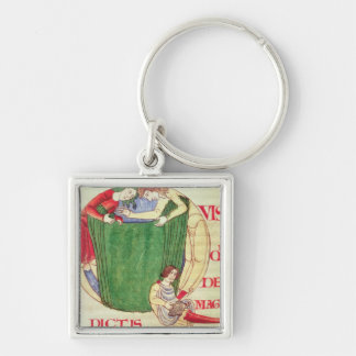Historiated initial 'Q' depicting drapers Silver-Colored Square Keychain