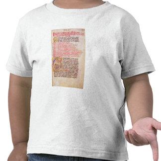 Historiated initial 'Q' depicting three Tee Shirts