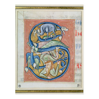 Historiated initial 'S' depicting an acrobat Postcard