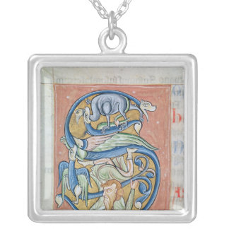 Historiated initial 'S' depicting an acrobat Silver Plated Necklace