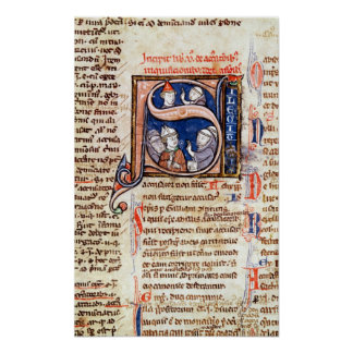 Historiated initial 'S' depicting Pope Gregory Poster