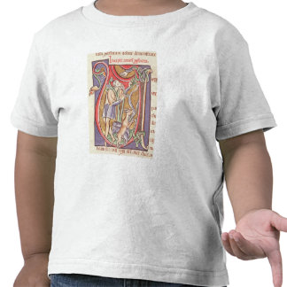Historiated initial 'V' depicting Amos Tshirt