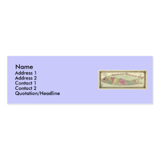 Historic 1855-1857 Travellers Map of Long Island Business Card Templates