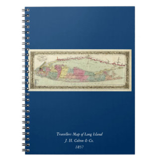Historic 1855-1857 Travellers Map of Long Island Notebooks