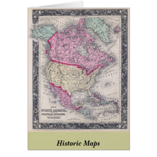 Historic 1860 Map of North America Card