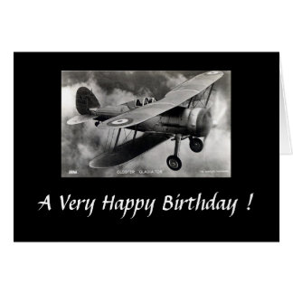 Historic Aircraft Birthday Card - Gloster Gladiato
