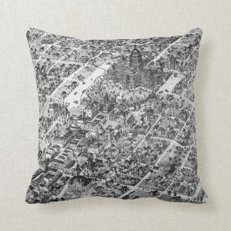 Historic Austin Map of 1873 Throw Pillow