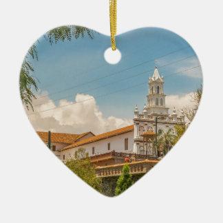 Historic Center of Cuenca, Ecuador Ceramic Heart Ornament