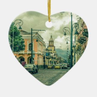 Historic Center Urban Scene at Riobamba City Ceramic Heart Ornament