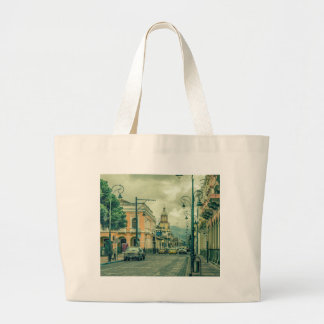 Historic Center Urban Scene at Riobamba City Large Tote Bag
