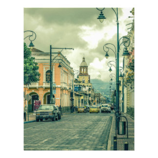 Historic Center Urban Scene at Riobamba City Letterhead Template