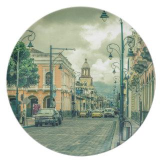 Historic Center Urban Scene at Riobamba City Plate