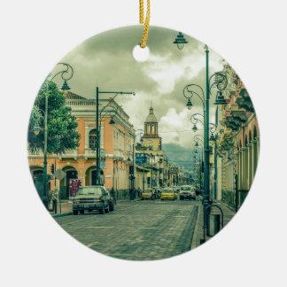 Historic Center Urban Scene at Riobamba City Round Ceramic Ornament