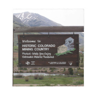 Historic Colorado mining country sign Notepad