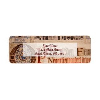 Historic Document  Antique Certificate Vintage Return Address Label