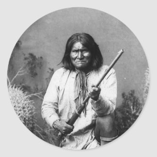 Historic Iconic Native American Indian Geronimo Classic Round Sticker