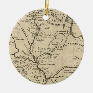 Historic Illinois Map of 1718 Ceramic Ornament
