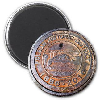 Historic Manhole Cover: Folsom, California Magnet