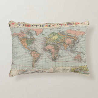 Historic map 1920 the world principal Pillow