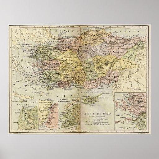 Historic Map of Ancient Asia Minor Anatolia Poster