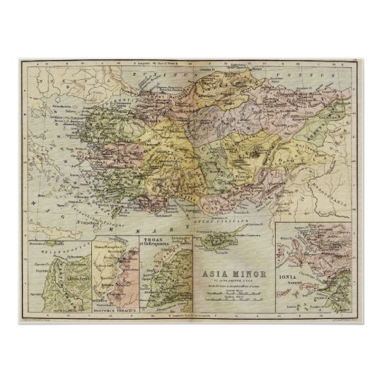 Historic Map of Ancient Asia Minor Anatolia Poster