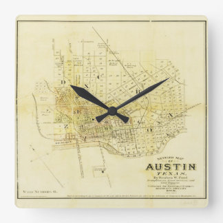 Historic Map of Austin Square Wall Clock