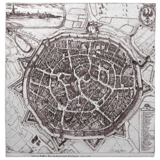 Historic Map Of Nordlingen, Germany In 1651 Cloth Napkins