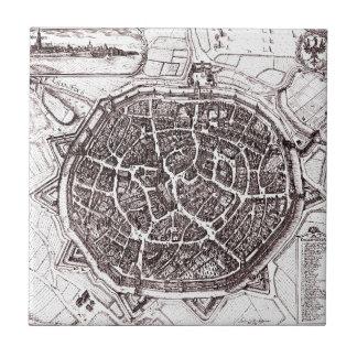 Historic Map Of Nordlingen, Germany In 1651 Tile