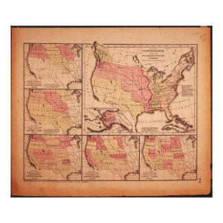 Historic Map of United States Expansion 1787-1865 Art Photo