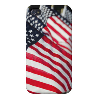 Historic military cemetery with US flags Cover For iPhone 4