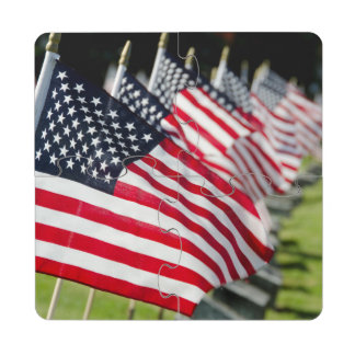 Historic military cemetery with US flags Drink Coaster Puzzle