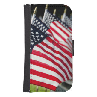 Historic military cemetery with US flags Galaxy S4 Wallets